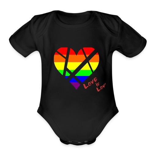 LGBT Pride Flag Heart shirt - Organic Short Sleeve Baby Bodysuit
