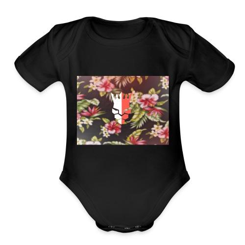red & white evjay logo - Organic Short Sleeve Baby Bodysuit