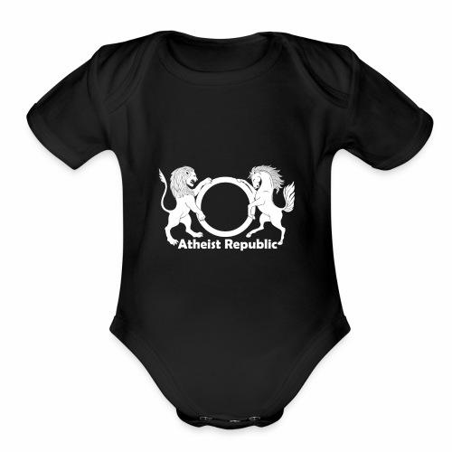 Atheist Republic Logo - White - Organic Short Sleeve Baby Bodysuit