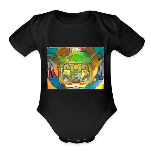 fractal art - Organic Short Sleeve Baby Bodysuit