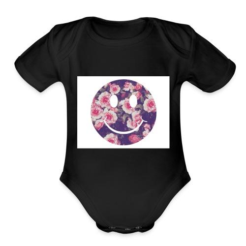 HAPPY FACE - Organic Short Sleeve Baby Bodysuit