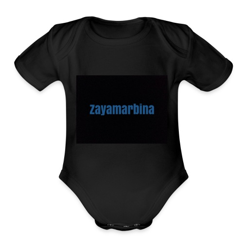 Zayamarbina bule and black t-shirt - Organic Short Sleeve Baby Bodysuit