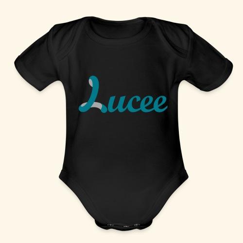 Lucee logo turquoise - Organic Short Sleeve Baby Bodysuit