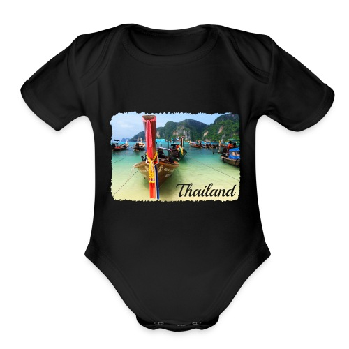 Thailand, Longtail Boats - Organic Short Sleeve Baby Bodysuit