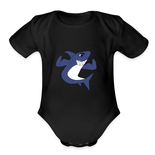 Sharky with Muscles - Organic Short Sleeve Baby Bodysuit