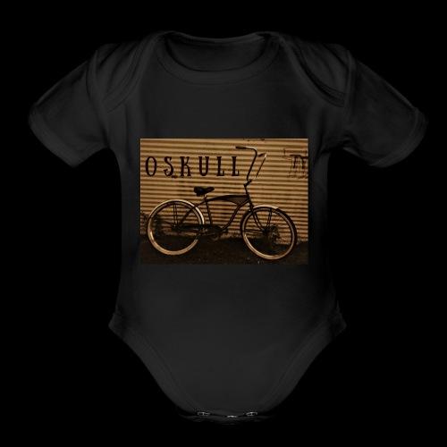 ratrod bike old school style - Organic Short Sleeve Baby Bodysuit