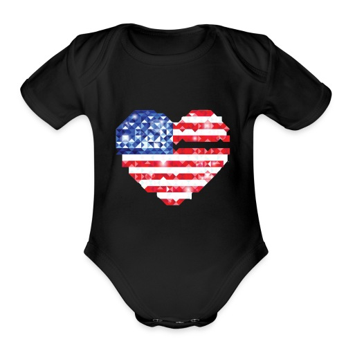 American Flag Heart Shirt - Organic Short Sleeve Baby Bodysuit
