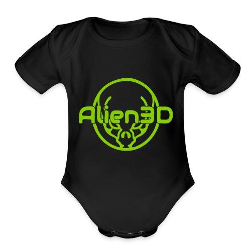 Alien3D Logo - Organic Short Sleeve Baby Bodysuit