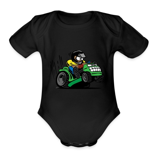 Racing Lawn Mower Cartoon - Organic Short Sleeve Baby Bodysuit