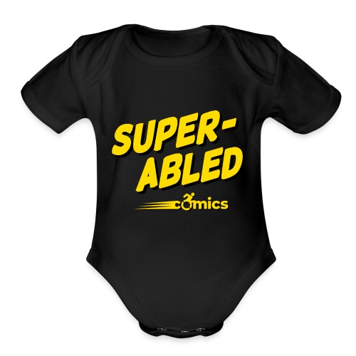 Super-Abled Comics - yellow/black - Organic Short Sleeve Baby Bodysuit