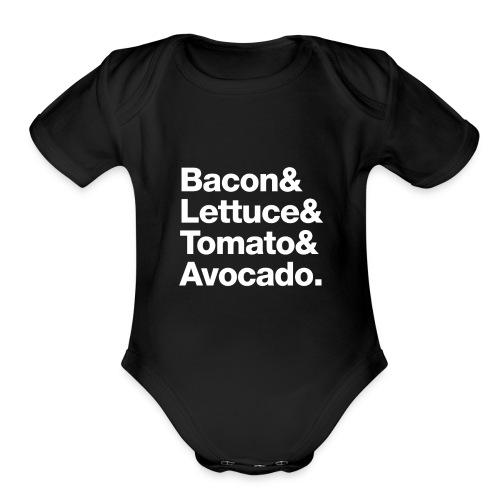 BLTA (white text) - Organic Short Sleeve Baby Bodysuit
