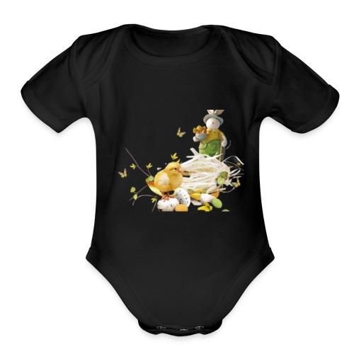 easter bunny easter egg holiday - Organic Short Sleeve Baby Bodysuit