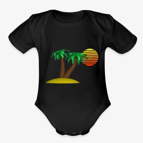 Palm Trees and Sun - Organic Short Sleeve Baby Bodysuit
