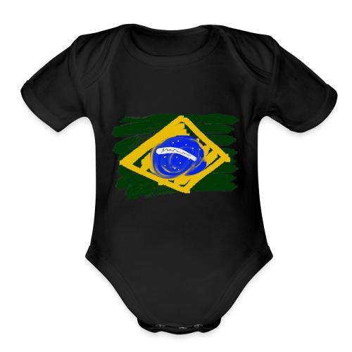 Brazilian Flag - Organic Short Sleeve Baby Bodysuit