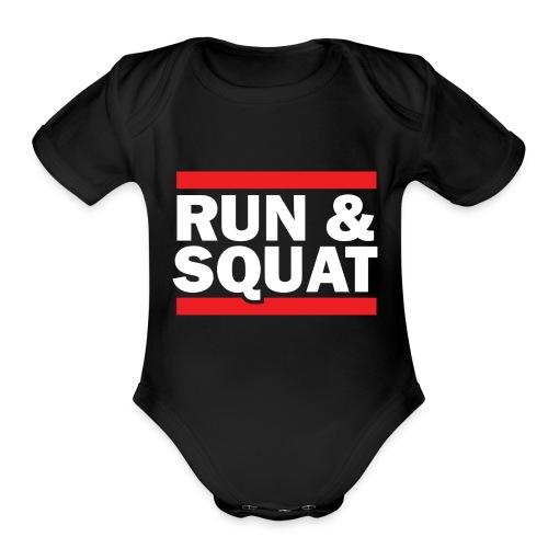 Run Squat White on Dark by Epic Greetings - Organic Short Sleeve Baby Bodysuit