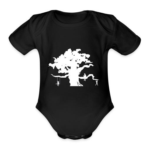 WD icon white - Organic Short Sleeve Baby Bodysuit