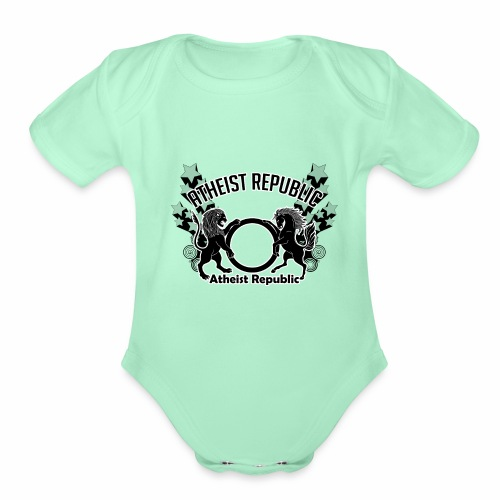 Atheist Republic Logo - Shooting Stars - Organic Short Sleeve Baby Bodysuit