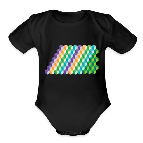 Cool Cubes Pattern - Organic Short Sleeve Baby Bodysuit