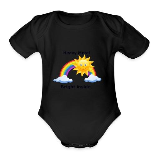 heavymetal bright inside - Organic Short Sleeve Baby Bodysuit