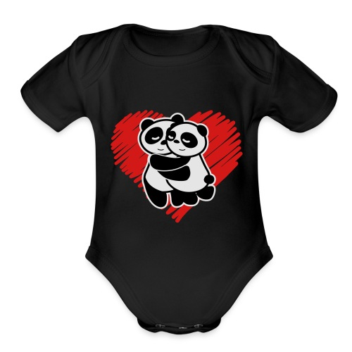 Panda Love - Organic Short Sleeve Baby Bodysuit