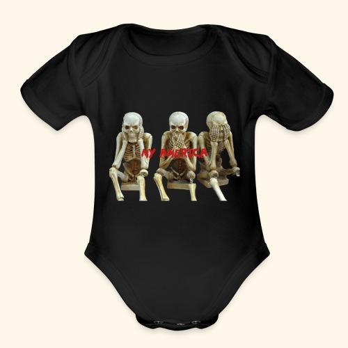 My America See No Evil Skeletons - Organic Short Sleeve Baby Bodysuit