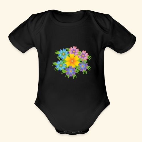 flower1 - Organic Short Sleeve Baby Bodysuit