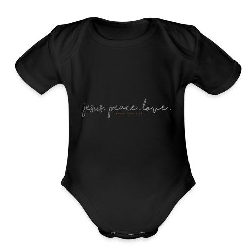 Jesus. Peace. Love. - Organic Short Sleeve Baby Bodysuit