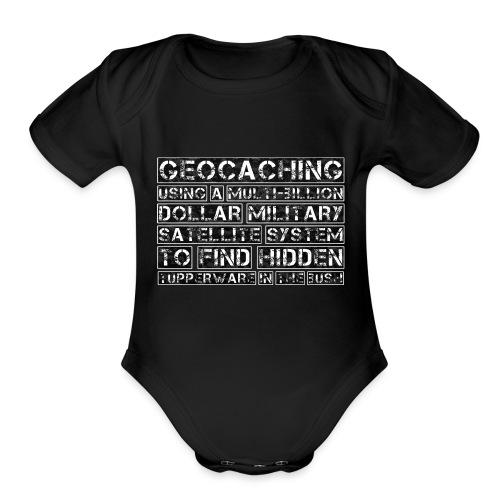 Geocaching Camo Satellite - Organic Short Sleeve Baby Bodysuit