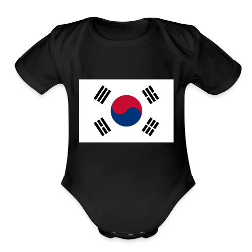 Flag of South Korea - Organic Short Sleeve Baby Bodysuit