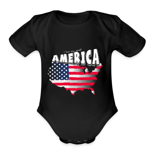i love my graet america - Organic Short Sleeve Baby Bodysuit
