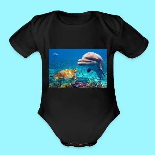 beautiful turtle, dolphin ocean design - Organic Short Sleeve Baby Bodysuit