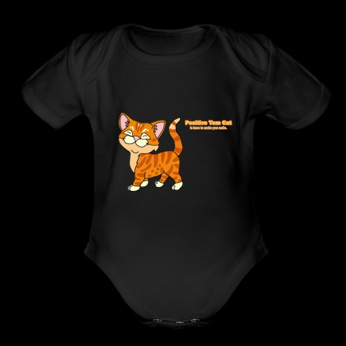 Smiling Tom, The Positive Tom Cat - Organic Short Sleeve Baby Bodysuit