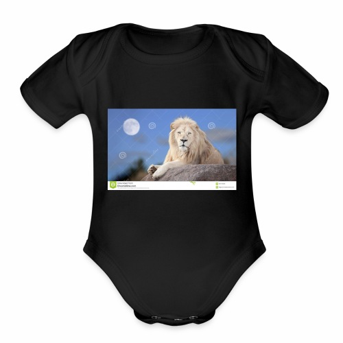 white lion moon light 62073026 - Organic Short Sleeve Baby Bodysuit
