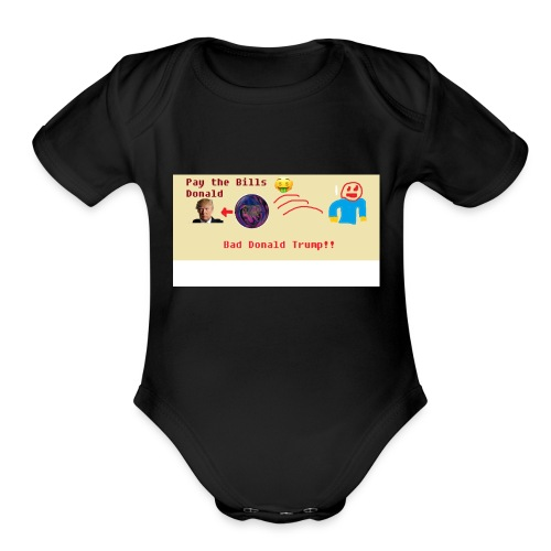 donald trump gets hit with a ball - Organic Short Sleeve Baby Bodysuit