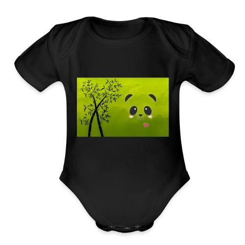 panda cuteness - Organic Short Sleeve Baby Bodysuit