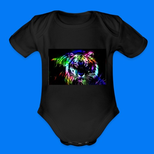 Rainbow tiger! - Organic Short Sleeve Baby Bodysuit