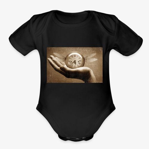 time flies and waits for nobody - Organic Short Sleeve Baby Bodysuit