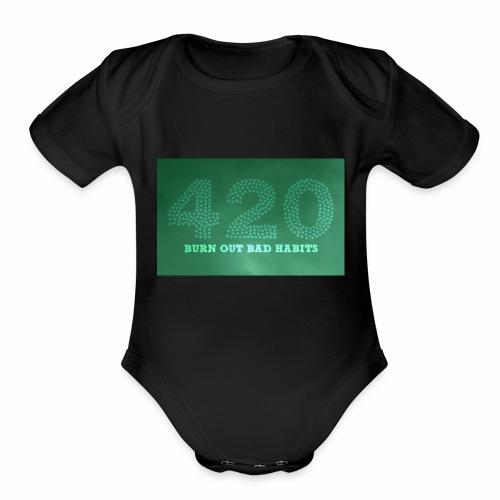 drug free 420 weed - Organic Short Sleeve Baby Bodysuit