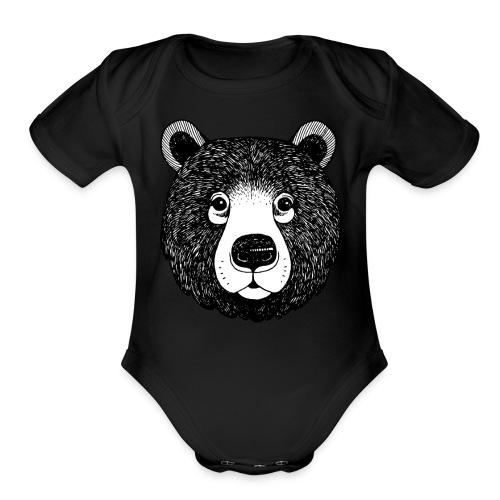 The head of bear - Organic Short Sleeve Baby Bodysuit