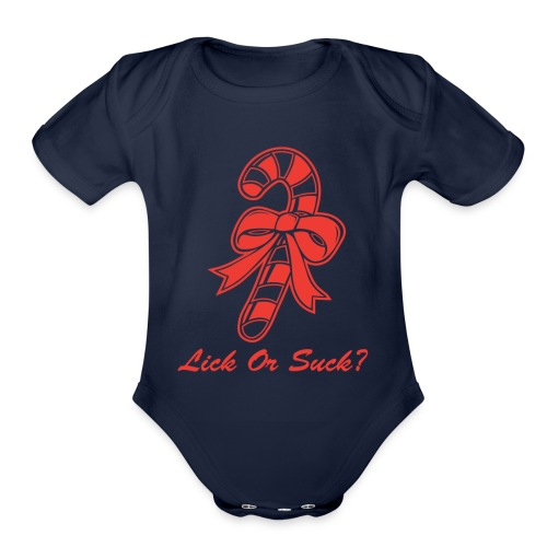 Lick Or Suck Candy Cane - Organic Short Sleeve Baby Bodysuit