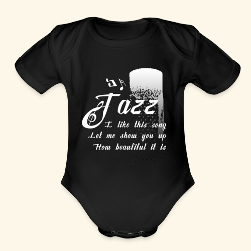 Funky Jazz Music Design - Organic Short Sleeve Baby Bodysuit