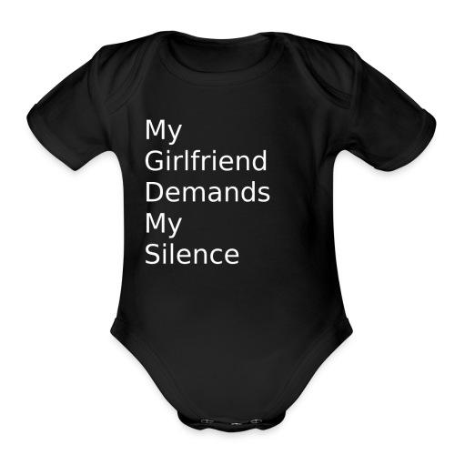 My Girlfriend Silence - Organic Short Sleeve Baby Bodysuit