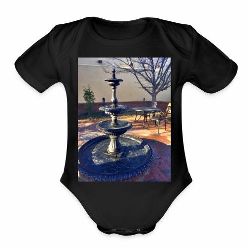 Fairytale Fountain Painting - Organic Short Sleeve Baby Bodysuit