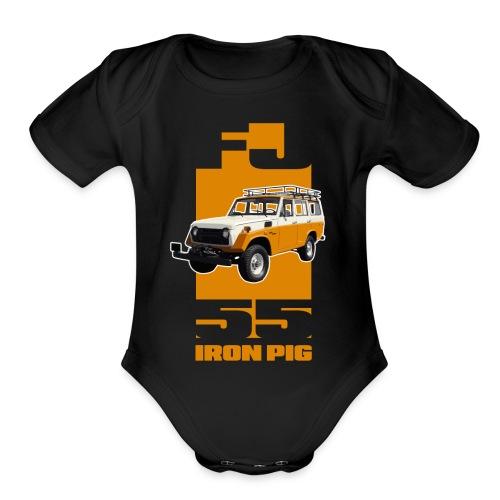 YELLOW FJ55 IRON PIG - Organic Short Sleeve Baby Bodysuit