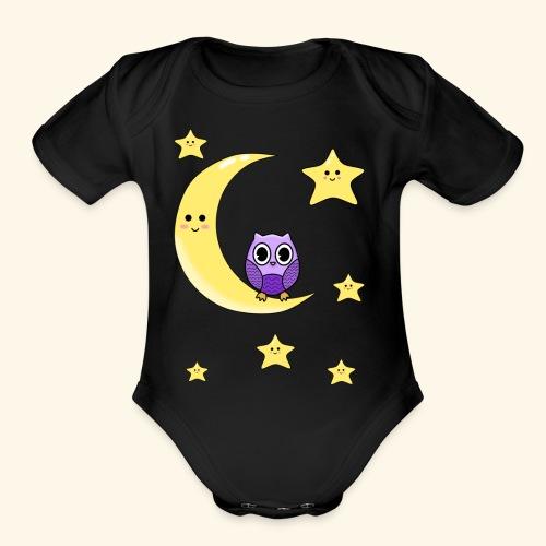 cute owl - Organic Short Sleeve Baby Bodysuit