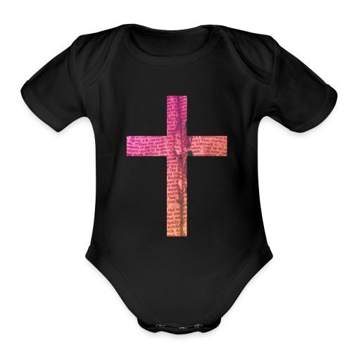 Textured Cross - Organic Short Sleeve Baby Bodysuit
