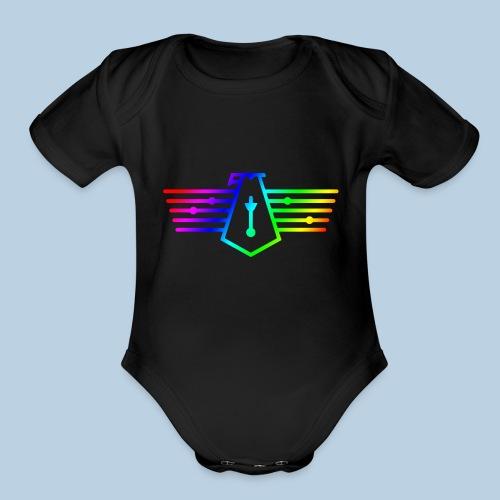 Westport Bird Rainbow on transparent - Organic Short Sleeve Baby Bodysuit