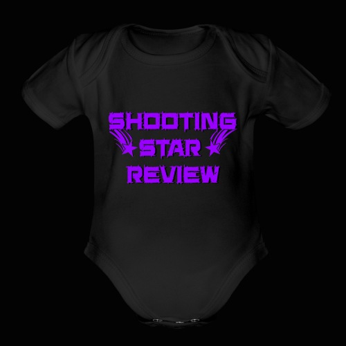 Shooting Star Review Purple Logo - Organic Short Sleeve Baby Bodysuit