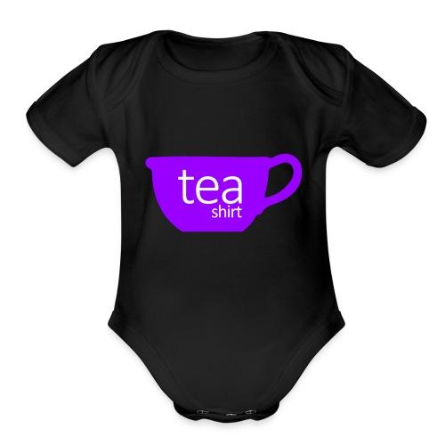 Tea Shirt Simple But Purple - Organic Short Sleeve Baby Bodysuit