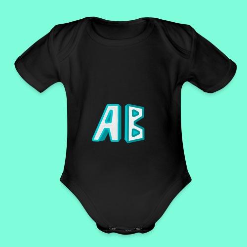 A Button Gaming Logo - Organic Short Sleeve Baby Bodysuit